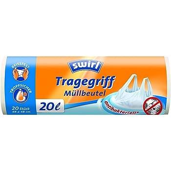 4 Rollen mit je 40 Beuteln 5 Liter Wei/ß Antibakteriell Swirl Tragegriff-M/üllbeutel