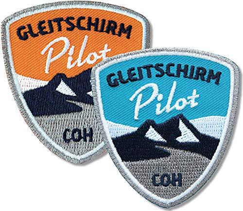 Club of Heroes 2er-Set Paragliding Abzeichen gestickt 55 x 60 mm orange blau/Gleitschirm Pilot/Aufnäher Aufbügler Sticker Flicken Patch Patches/Paraglider Flieger Flugberg fliegen Alpen -