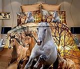 Cotton World 3D Bettwäsche Microfaser Wilde Pferde 135 x 200 cm + 80 x 80 cm