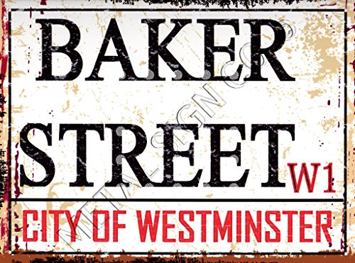 Klein BAKER STREET LONDON Straßenschild aus Metall Retro Vintage Style Garage Schuppen Werkstatt Bar Pub Wand Kunst Büro Spiele Raum Sherlock Holmes -