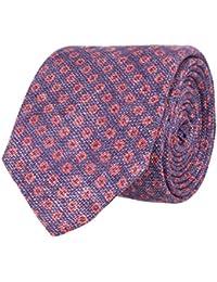 OTTO KERN Schmale Krawatte Clubkrawatte Lila Blümchenmuster Rot 6 cm