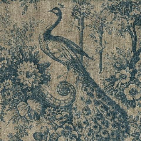 Tela de lino - Los Pavos Reales Azules (tela natural) - 100% lino suave | ancho: 140cm (1 metro)