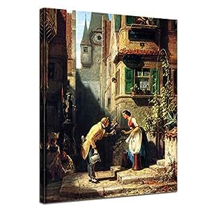 """Bilderdepot24 tela immagine Carl Spitzweg - Antichi Maestri """"lo Sposo Eterna"""" 30x40cm - completamente incorniciato, direttamente dal produttore"""