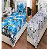 AKIN Premium 100% Cotton Multicolor Set Of 2 Single Bedsheets With 2 Pillow Covers (Length = 90 Inches, Width = 60 Inches)