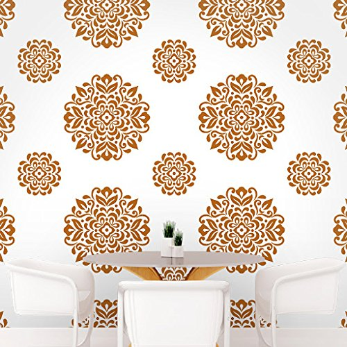DeStudio Floral Circle Tile Chalkboard Wall Decal, Size SMALL & Color : BROWN
