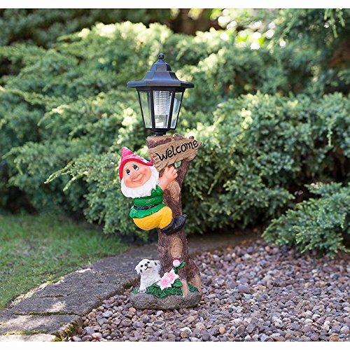 Outdoor Garden Gnome Solar Lampe Post Statue–Red Hat (Solar-post)
