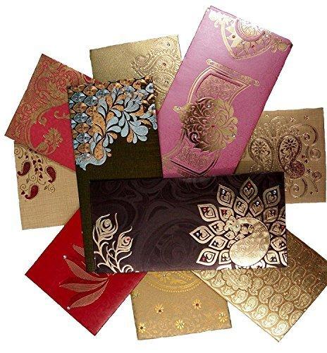 Geld-halter-karten Weihnachten (nexxa shagun Geschenk Umschlag (50Stück + 10Gratis) sortiert Farbe Designs Geld Halter Karte Fancy Paket für Weihnachten Diwali Ostern Geburtstag Hochzeit Jahrestag-Einladung Briefumschläge)