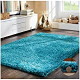 """FB FunkyBuys® SOFT LUXURIOUS TEAL BLUE 5CM THICK DENSE PILE TURQUOISE SHAGGY RUGS BEDROOM AND LIVING ROOM NON SHED ANTI SKID CARPETS - 5 SIZES AVAILABLE (120cm x 170cm (4ft x 5ft 6""""))"""