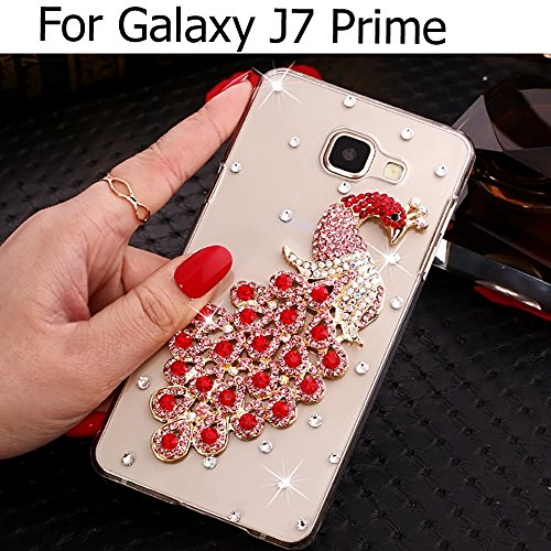 KC Luxury Diamond Studs Gold Peacock Case Soft Transparent Back Cover for Samsung Galaxy J7 Prime - Red