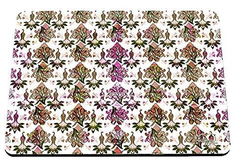 hippowarehouse Floral Damast Pfau Muster bedruckt Mauspad Zubehör Schwarz Gummi Boden 240mm x 190mm x 60mm, Pink and Yellow, Einheitsgröße