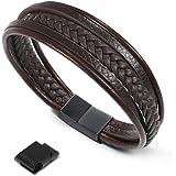 flintronic® Bracelet Homme, Bracelet Cuir Véritable Acier Inoxydable Fermoir Tressé Bijoux, Idee Cadeau Homme et Femmes