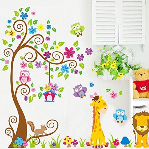 wallpark-color-fleur-arbre-dessin-anim-hibou-lion-girafe-amovible-stickers-muraux-autocollants-enfan