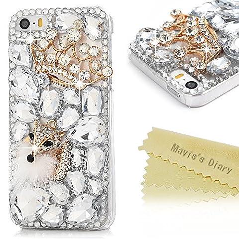 Mavi's Diary – Coque rigide transparente avec décoration en strass pour iPhone SE, iPhone 5S, iPhone 5