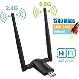 Flybiz Adattatore WiFi 1200Mpbs, Adattatore USB 3.0 WiFi, Dual Band Wireless Adapter WiFi con Antenna 5dBi (300Mbps/2.4GHZ, 8