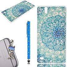WeLoveCase Casco para Sony Xperia C4 Silicona TPU Suave Funda Cascara Protección Anti Polvo Resistente Diseño Creativo Original de Moda Nuevamente con 1 x Stylus y 1 x Colk Anti-Polvo (Sony C4, dibujo Lotus Azul)