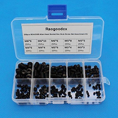 Raogoodcx Madenschrauben-Set mit Innensechskant, M3/4/5/6/8, Inbus-Kopf, Stahllegierung, Festigkeit: 12.9, in Kunststoffschachtel, schwarz, 250 Stück