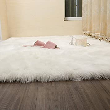 Flauschiger teppich  Kunstfell Teppich grau Weiches flauschig Teppich Shaggy Teppiche ...