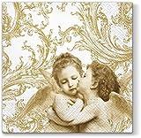20 Servietten Engel in Zweisamkeit gold / Nostalgie / Weihnachten 33x33cm