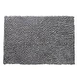 iSinotex Anti-Rutsch Fluffy Schlafzimmer Teppich Chenille Teppichboden-Matten, 50cmx80cm, Grau