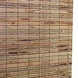 ZEMIN Bambus Rollo Bambusrollo Jalousette Venetian Schatten Innen/Außen Installieren Kordelzug Schatten Handhebend, Braun, 3 Größen (Farbe : Brown, Größe : 61X162CM)