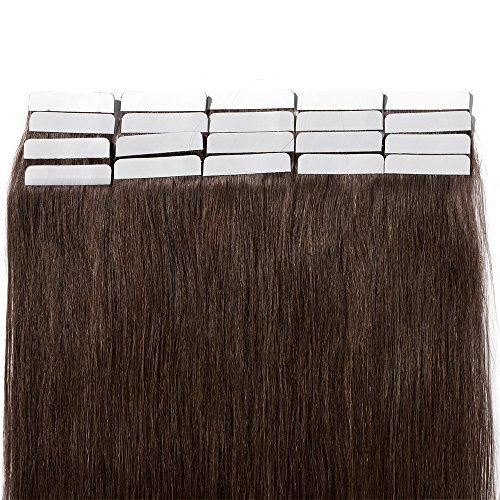 50cm extension capelli veri biadesivo 20 fasce 50g/set remy human hair tape in lisci umani riutilizzabile seamless, 4 marrone cioccolato