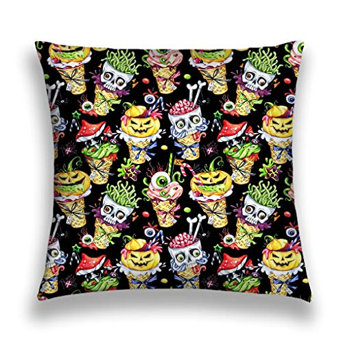 �ge Home Decorative Throw Pillow Case Polyester Cushion Cover 18 x 18 Inches Watercolor Cartoon Cones Skulls Pumpkins Eyes amanitas Halloween Holiday Funny Ice Cream Watermark ()