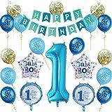 Nvetls 1. Geburtstag Dekorationen für Junge o Mädchen Kindergeburtstag Deko Jungen Mädchen 1 Jahr (Blau)