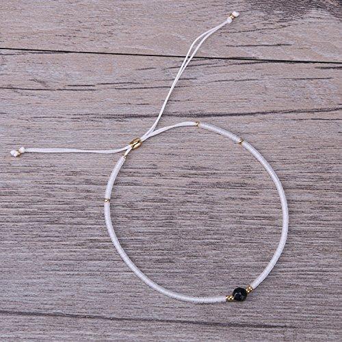 KELITCH Armband Weiß Rocailles Perlen Zart Schnur Freundschaftsarmbänder mit Schwarz Streifen-Achat