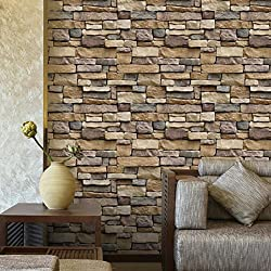 Pegatina de pared, K-youth® 3D Pegatinas para pared Creativo Vinilo Decorativo del Cristal DIY Pegatinas de pared Simulación pared de ladrillo Decoración de pared en Relieve Piedra de ladrillo (A)