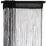 Smartfox Fadenvorhang 100 x 250 cm in Schwarz mit Perlen Fadengardine Fadenstore Vorhang Schal Faden