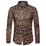 ¡Gran promoción! Blusa Impresa Leopardo de la Manera para Hombre de Las Camisas Ocasionales de Manga Larga Slim Tops de Internet