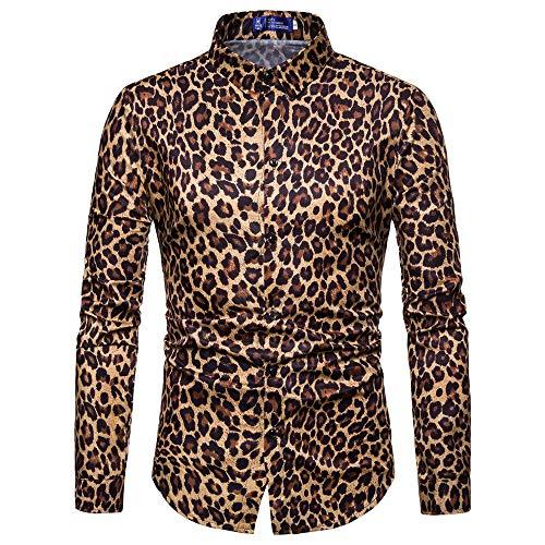 LuckyGirls Camisas Formales Blazers de Hombre Manga Larga Negocio Estampado de Leopardo Patrón Camisetas Casual Entallada Remeras de Trajes