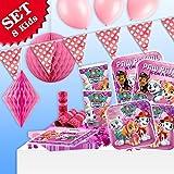 PAW PATROL GIRL Geburtstag-Deko-Set, 63-teilig zum Kindergeburtstag Mädchen und PAW PATROL GIRL-Motto-Party für 8 Kids und Hunde-Freundinnen