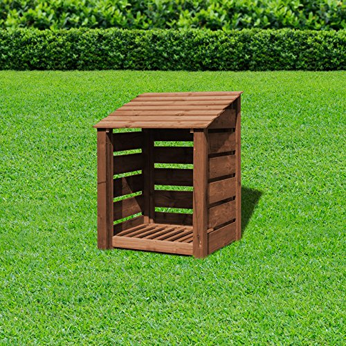 Rutland County Garden Furniture BURLEY 4FT- SLATTED WOODEN LOG STORE/GARDEN STORAGE, GREEN, HEAVY DUTY, HAND MADE, PRESSURE TREATED.