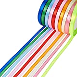 Pandahall 10 Rolls New Arrivals 6mm Satin Ribbon, Mixed Color, 25yards/roll, 10 rolls/group, 250yards/group