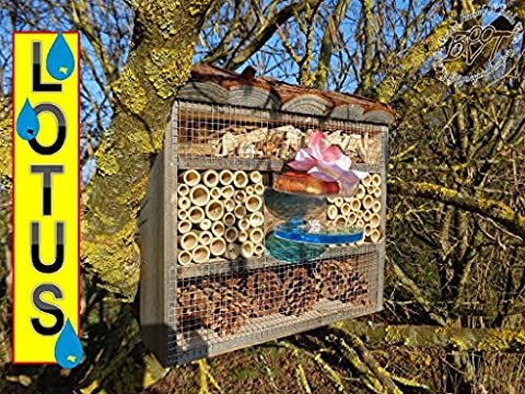 Large Insect Nesting Box XXL with/without Stand Luxury Hotel 30cm Lotus/Insect House as a functional Garden Feeder and Wood Bark Natural Best Durable Case Personalized Design For Lovely Special Lotus Design, FDV/Lo Station OS Black Decorative Matches The Tit Box or for Birdhouse Bird Feeding Station Bird Feeder
