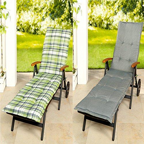Baumwoll-satin-matratze-auflage (Wende Rollliegen Rollliegenauflage Liegestuhl Stuhlauflage Auflage 53x195, Farbe:hellgrau-grün)