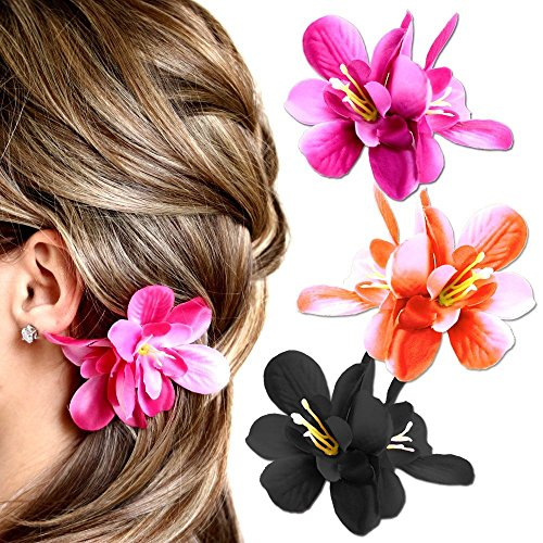 1-barrette-barrette--noeuds-pince-pingle--cheveux-floraison-fleur-hawaii