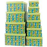 Markenlos Aufbewahrungsboxen/Schachteln im 10er Set mit Deckel Verschiedene Designs (Löwen)