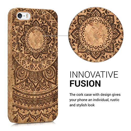 kwmobile Hülle für Apple iPhone SE / 5 / 5S - Backcover Case Handy Schutzhülle Kork - Hardcase Cover Halbblume Design Dunkelbraun Hellbraun Indische Sonne Dunkelbraun Hellbraun