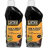 JCB Garden Heavy Duty Sink and Drain Unblocker Instant Power, 2 x 500ml