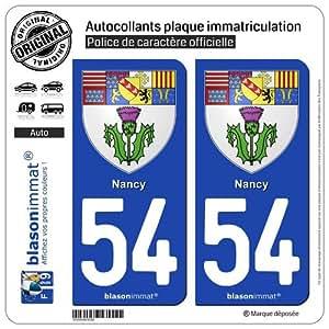 2 Stickers de plaque d'immatriculation auto 54000 Nancy - Armoiries