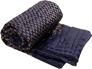 Rajasthan Emporium and Handicrafts Silk Jaipuri Golden Floral Print Double Bed Quilt (Blue, 90x108-inch)