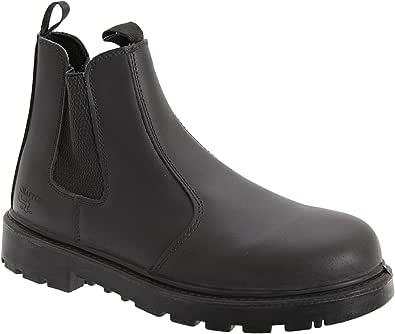 Unisex Black Leather Safety Dealer Boot - Grinder, Black Leather