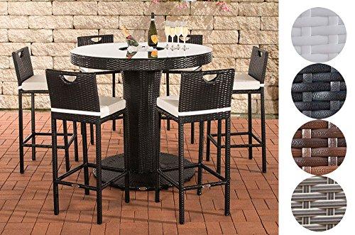 CLP Gartenbar-Set MARI XL aus wetterbeständigem Polyrattan | Bartisch mit eingelassenem Edelstahlkübel | Gartenset mit sechs Barhockern und passenden Sitzkissen | In verschiedenen Farben erhältlich Schwarz