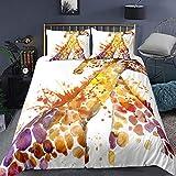 Impressive Heimtextilien 3D Giraffe Animal Prints Bettwäsche-Sets 3 Stück Quilts Bettbezüge Kissenbezüge Schlafzimmer Dekorationen-200X200cm