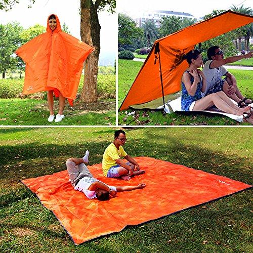 Multifunktionale Regen Ponchos, Rucksack, Sonnenschutz Plane, Boden Matte, wiederverwendbar Wasserdicht Regenmantel Mit Kapuze Orange