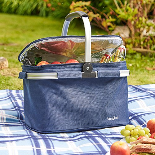 61GnuFSZmdL. SS500  - VonShef 22L Cooler Bag - Large Insulated Cooler Bag for Outdoor Use, Picnic Camping, Beach - Blue