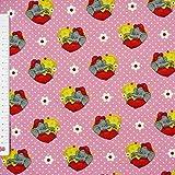 Jerseystoff Benjamin Blümchen Herz Punkte rosa weiß 1,50m Breite