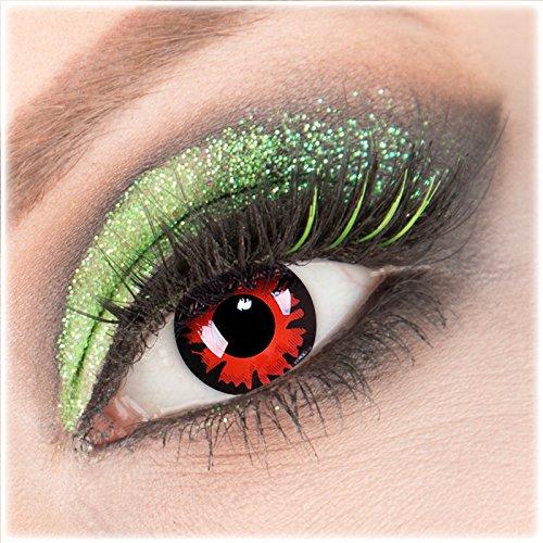 Volturi Billig Kostüm - Farbige rote schwarze 'Volturi' Kontaktlinsen 1 Paar Crazy Fun Kontaktlinsen mit Behälter zu Fasching Karneval Halloween - Topqualität von 'Giftauge' ohne Stärke